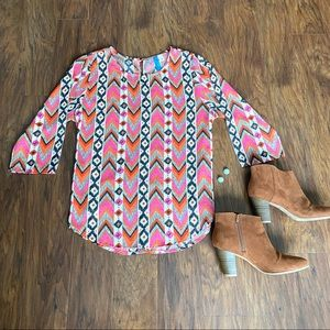 Francesca's Collections Okeana Printed Blouse L